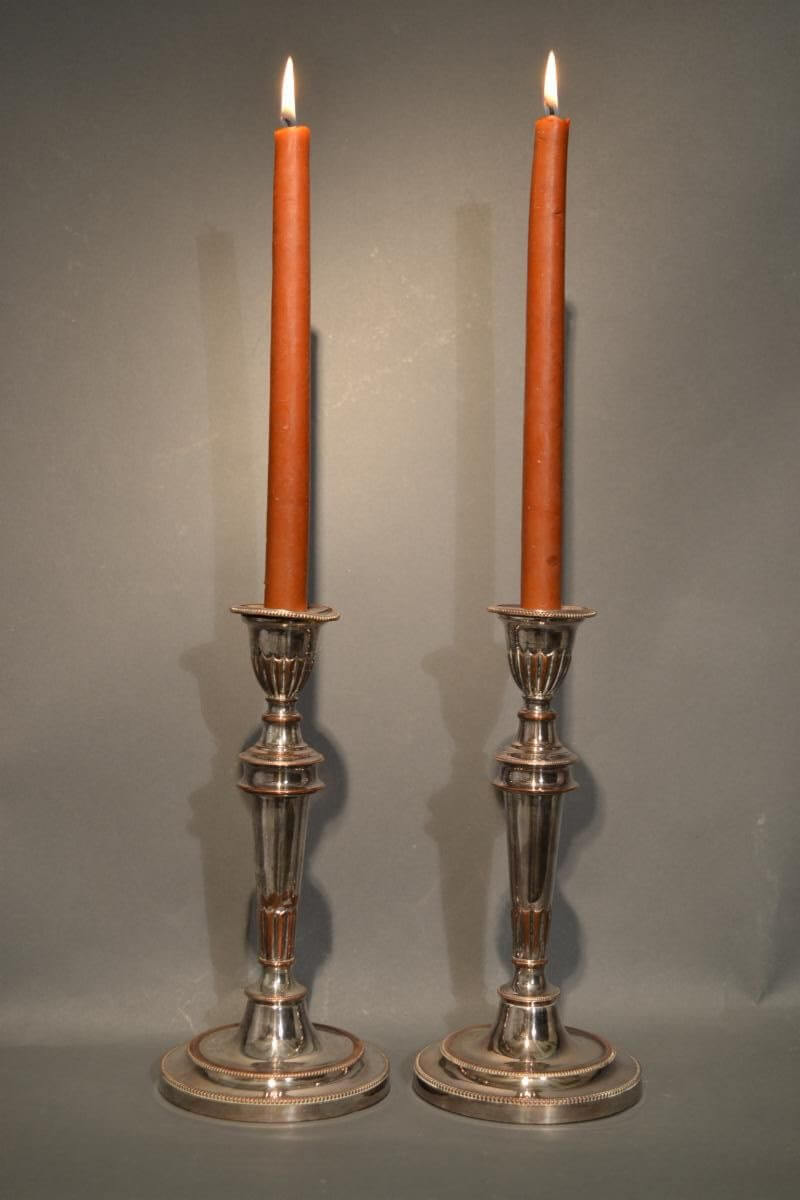 """Silver Plated """"Bloody Sheffield"""" Candlesticks"""