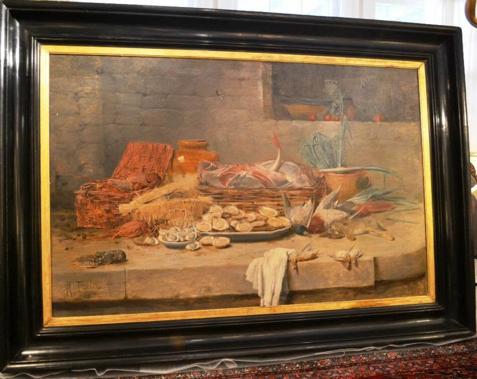 French Still Life with Shellfish and Game Oil on Canvas