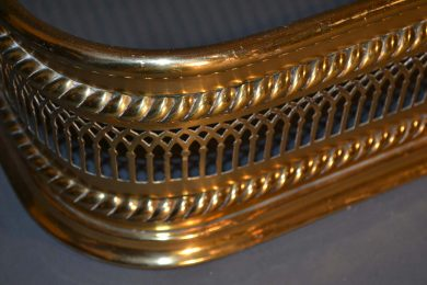 English brass fireplace fender, early 19th century up close
