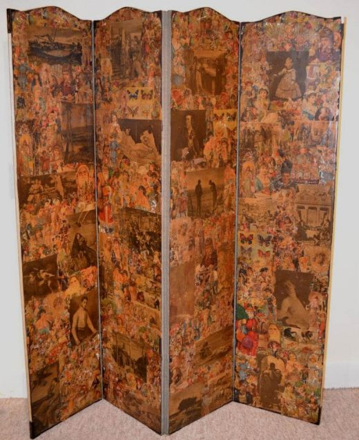 American decoupage four panel screen