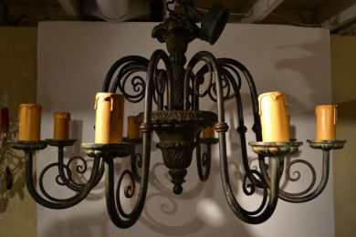 Continental Patinaed Chandelier