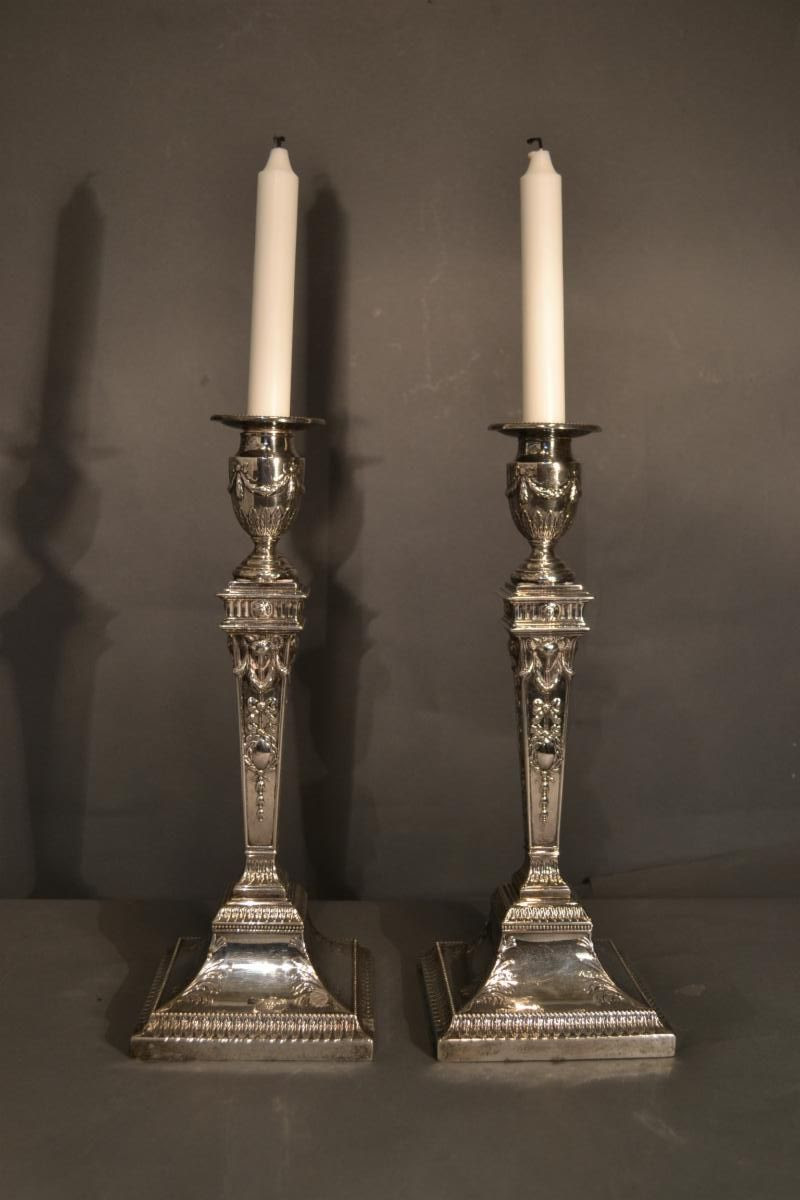 Detailed pair of sheffield candlesticks