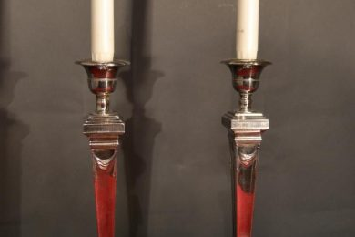 Elegant pair of sheffield candlesticks