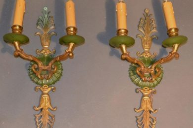French empire pair of sand-cast bronze antique wall scones with green candlestick base and wall mounting.