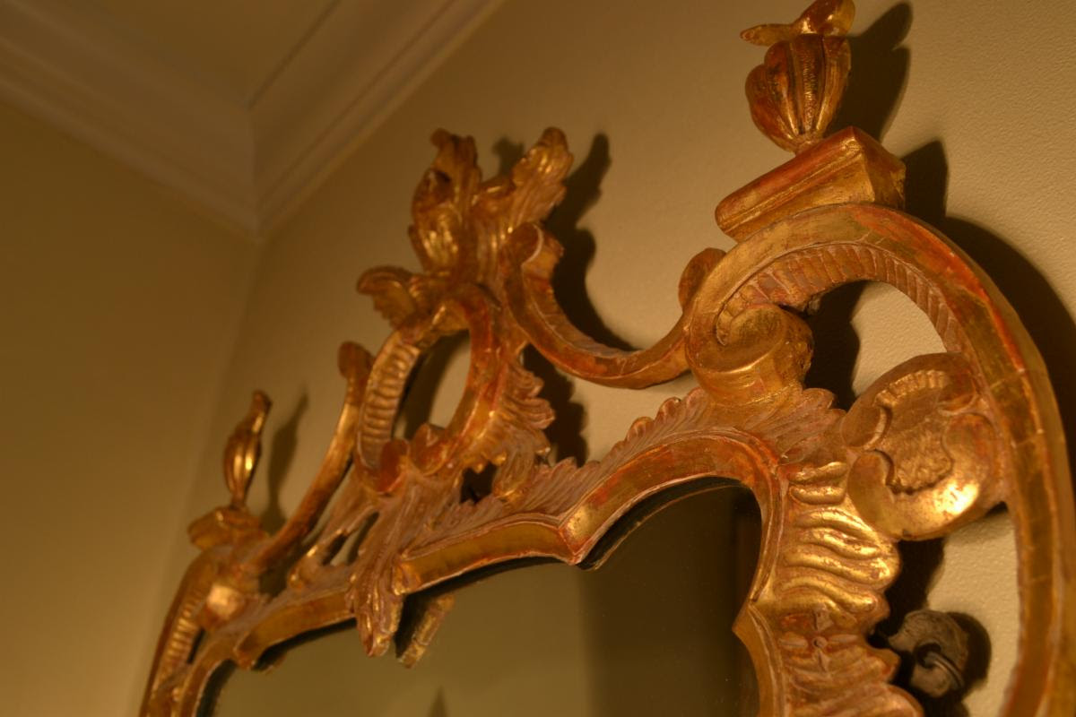 Early Georgian Chippendale mirror detail