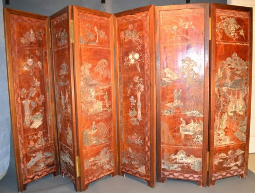 antique chinese six panel red lacquer coromandel screen