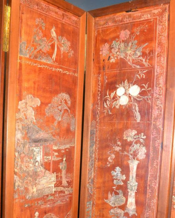 Antique chinese six panel red lacquer coromandel screen up close