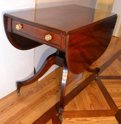 English regency mahogany inlaid breakfast table folded