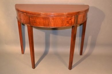 george III mahogany demilune tea or card table top