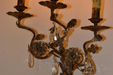 Italian tin and iron small three light rococo sconces