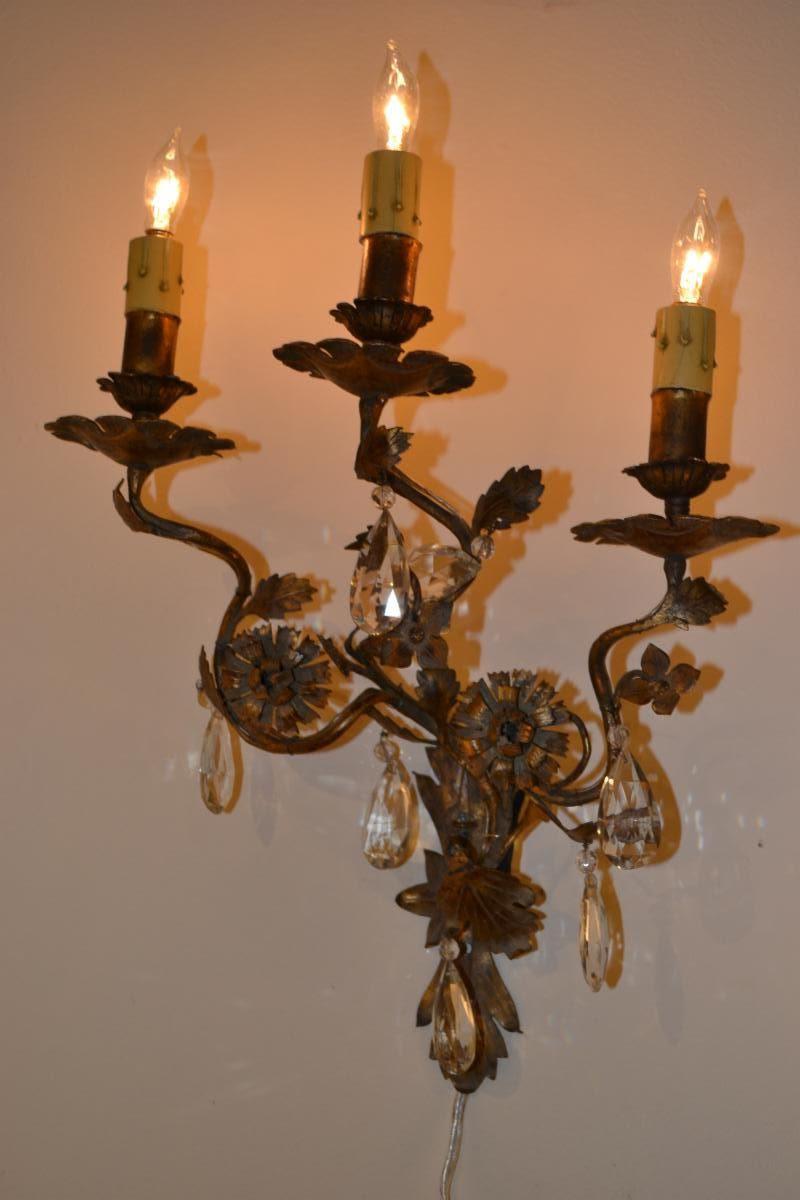 Italian Tin and Iron Small Three Light Rococo Sconces