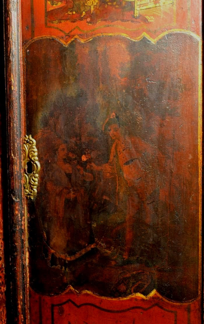 lacquered tall case clock door