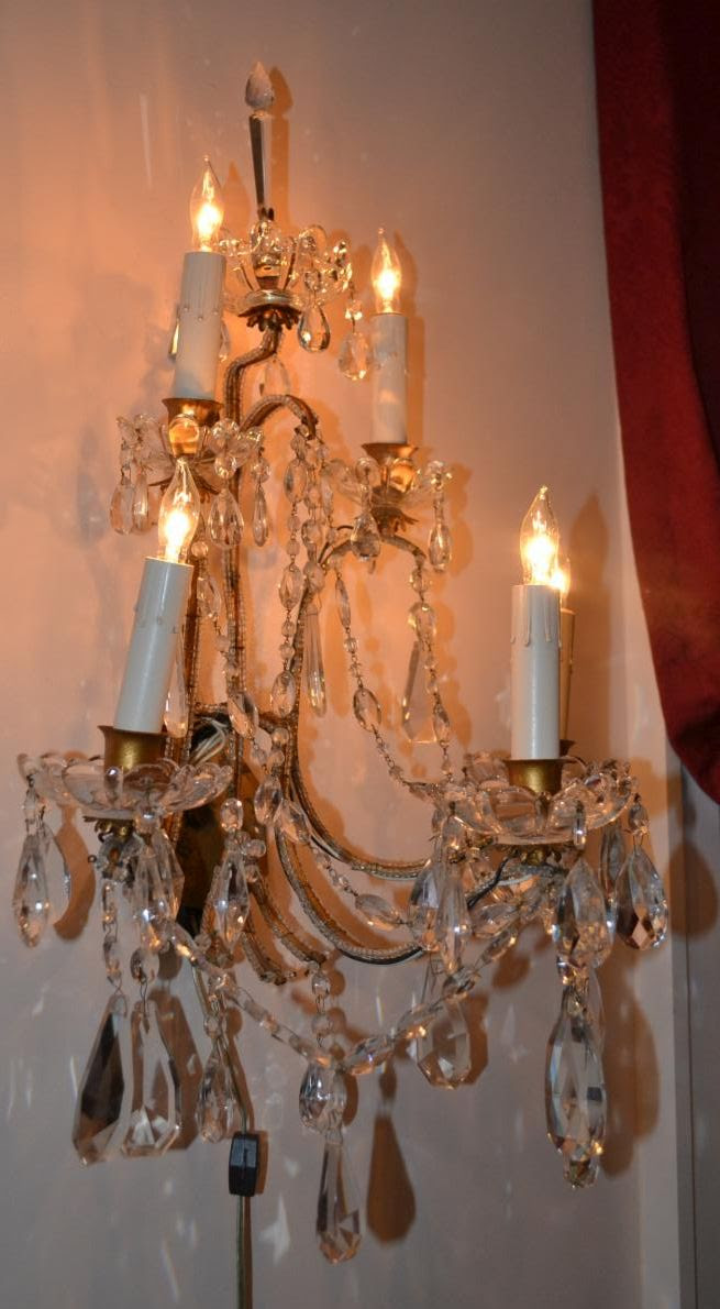 Larger French brass five light sconces