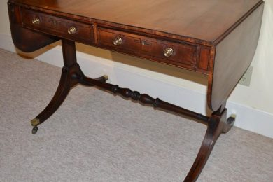 English inlaid mahogany Regency style sofa or library table
