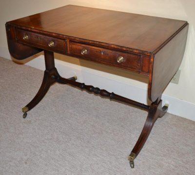 English inlaid mahogany Regency style sofa or library table