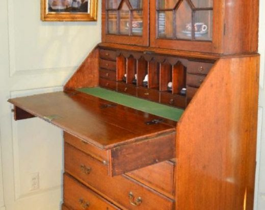 oak and mahogany banded Chippendale style secretary two parts