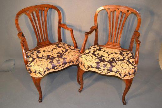 Classic George III transitional mahogany armchairs