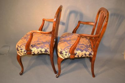 Classic George III transitional mahogany armchairs side view