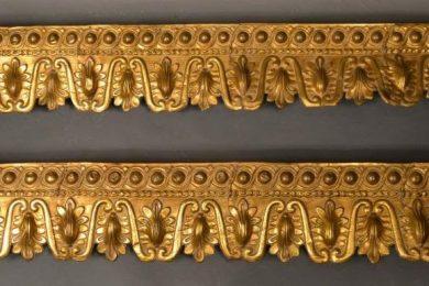 Empire type gilt stamped brass window valances