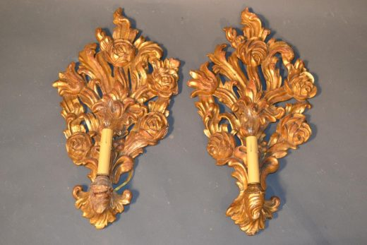 Florentine gilt carved wooden sconces in cartouche form