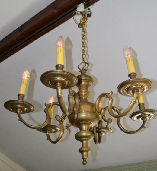 Vintage solid brass rococo chandelier