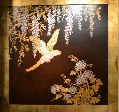 Japanese brown lacquer panel