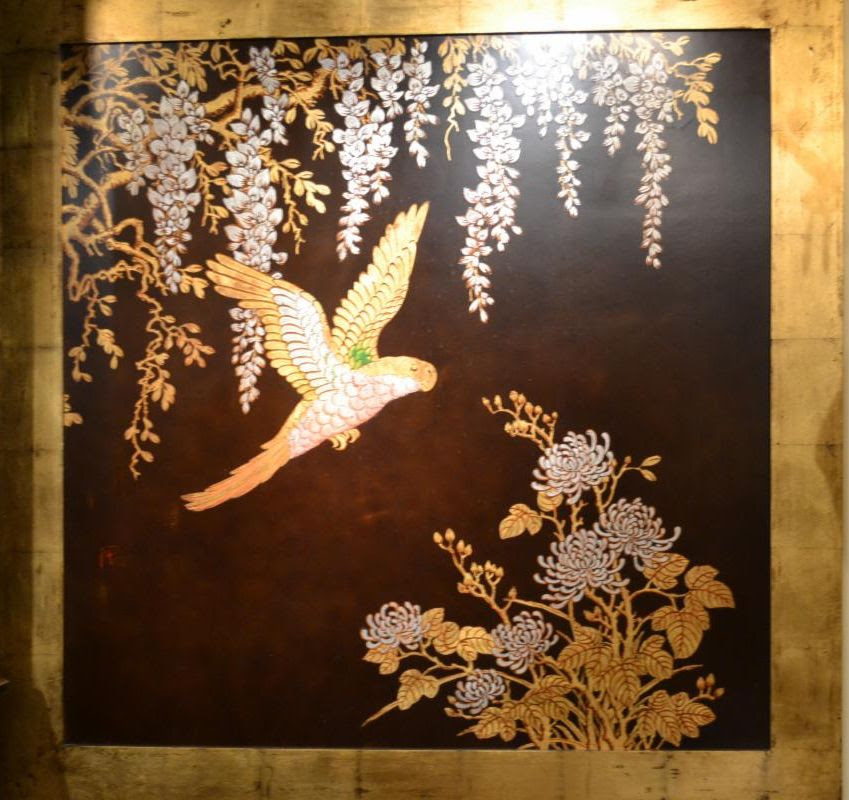Japanese Vintage 20th Century Brown Lacquer Panel