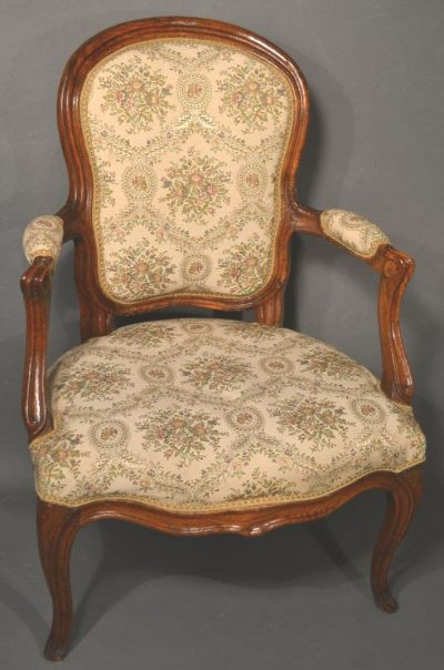 Louis XV fruitwood carved chair