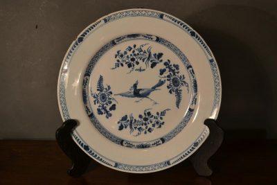"""18th century Delft blue on white 13.5"""" platter"""