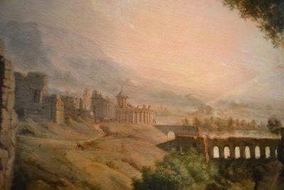 Italian countryside painting bridge detail