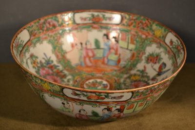 Chinese export rose medallion punch bowl, 19th century floral design