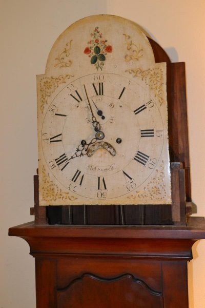 cherry new england tall case clock by abell stowell face
