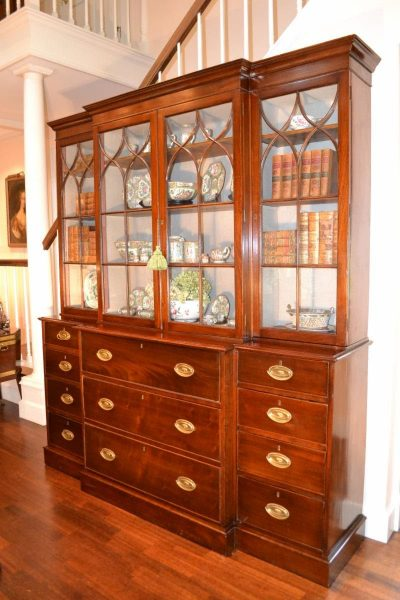 George III mahogany breakfront, late 18th to early 19th century