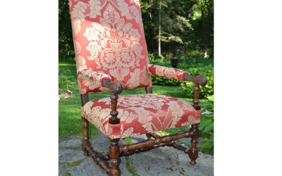 Baroque 17th century walnut armchair in a fresh damask cover