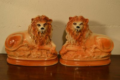 Staffordshire hand decorated lions