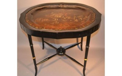 19th Century Highly Detailed Dark Brown Lacquer Tray